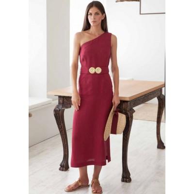 Lino Off-Shoulder Framboise Dress