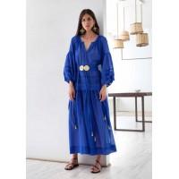 Mykonos Greek Blue Buckles Long Dress Φορέματα