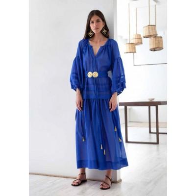 Mykonos Greek Blue Buckles Long Dress