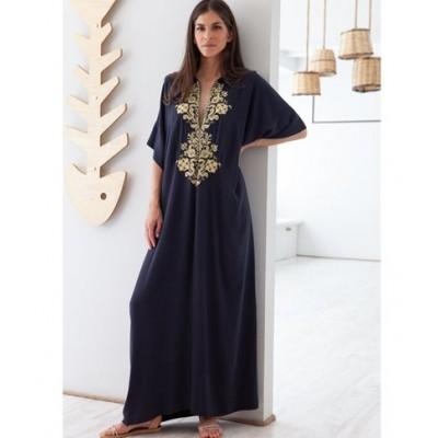 Astypalaia Embroidered Maxi Kaftan Dress Blue Gold