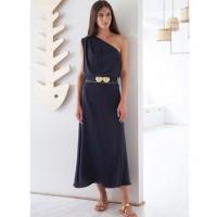 Kaliroi One Shoulder Blue Dress With Golden Buckles Φορέματα