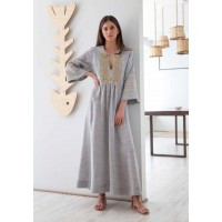 Iro Embroidered Grey/Gold Long Kaftan Φορέματα