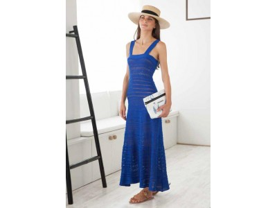 Myrti Crochet Greek Blue Dress Φορέματα