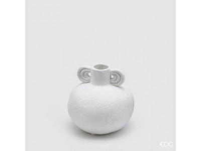 Βάζο Κεραμικό Σφαιρικό Λευκό Βάζα