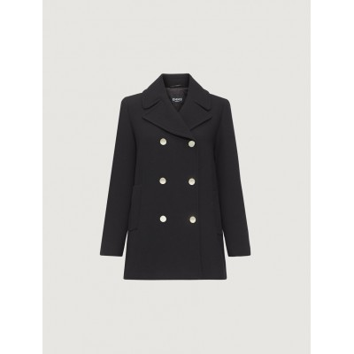 Double - Breasted Peacoat Black