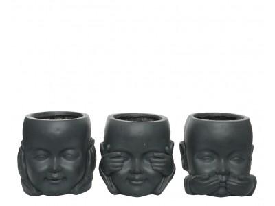 """Πήλινο Κασπό Αναπαράστασης """"Three Wise Monkeys"""" Σαλόνι"""