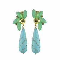 Stelene Turquoise Drop And Crystal Dangle Earrings Κοσμήματα
