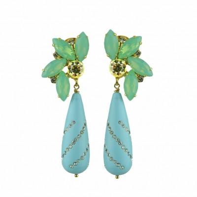 Stelene Turquoise Drop And Crystal Dangle Earrings