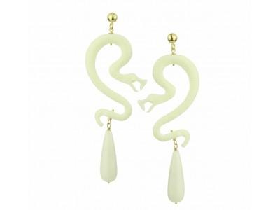 Nuwa White Resin Snake Αnd Coral Drops Earrings Κοσμήματα