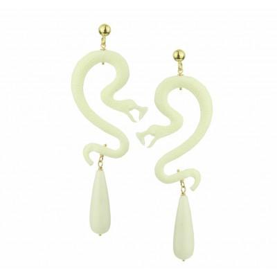 Nuwa White Resin Snake Αnd Coral Drops Earrings