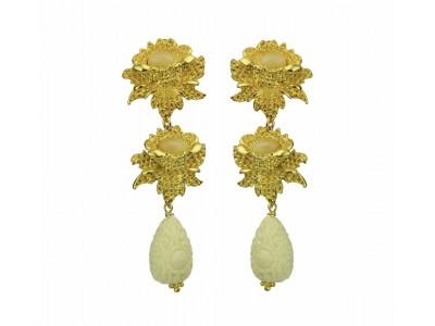 Rosa Clip Earrings With Beige Drops Κοσμήματα