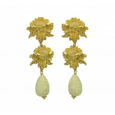 Rosa Clip Earrings With Beige Drops