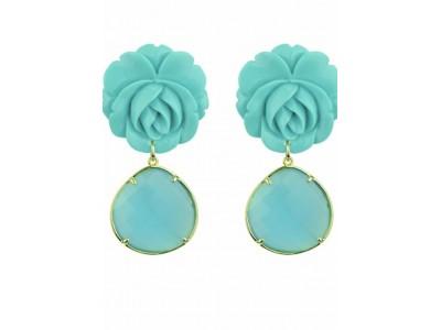 Rosa Turquoise Flower Dangle Earrings Κοσμήματα