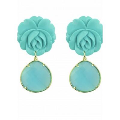 Rosa Turquoise Flower Dangle Earrings