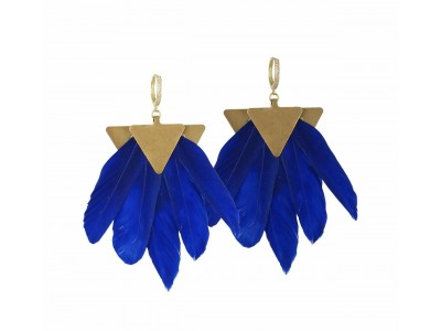 Artemis Blue Feather Gold Plated Metal Earrings Κοσμήματα
