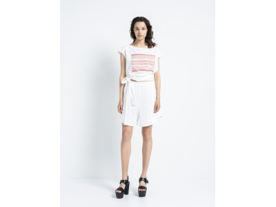 New Folklore - Top White With Valiant Red Details Τοπ