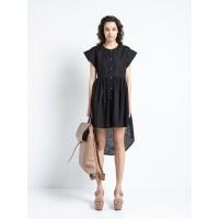 Cotton Diagram - Shirt Dress Black Φορέματα