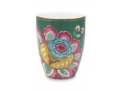 Πορσελάνινο Ποτήρι Λουλούδια Πράσινο 300ml Μπάνιο