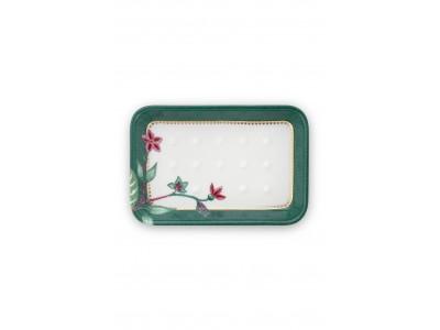 Πορσελάνινη Σαπουνοθήκη Λουλούδι Πράσινο 14x9.5x2 Μπάνιο