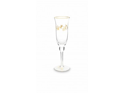 Γυάλινο Ποτήρι Σαμπάνιας Winter Wonderland Χρυσό 220ml Υαλικά