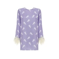 Printed Top With Feathers Light Purple  Τοπ