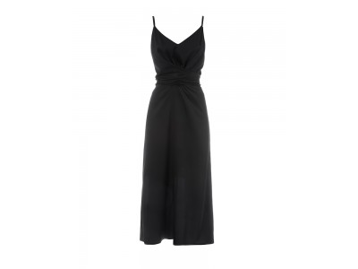 Wrap Slip Dress Black Φορέματα