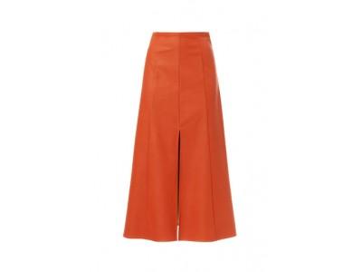 Vegan Leather Midi Skirt With Front Slit Φούστες