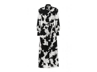 Printed Long Dress With Tie Detail Φορέματα