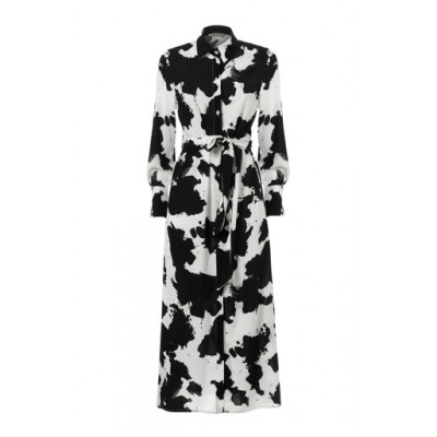 Printed Long Dress With Tie Detail