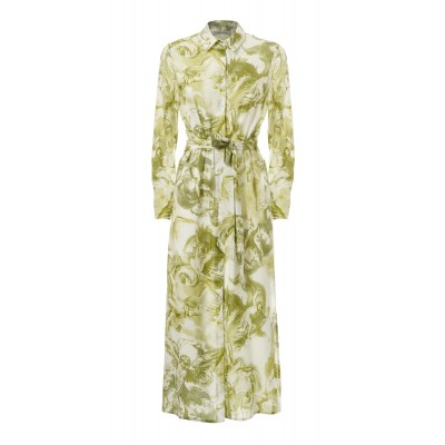 Printed Long Dress With Tie Detail Angels Green