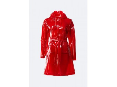 Transparent Belt Jacket Glossy Red Πανωφόρια